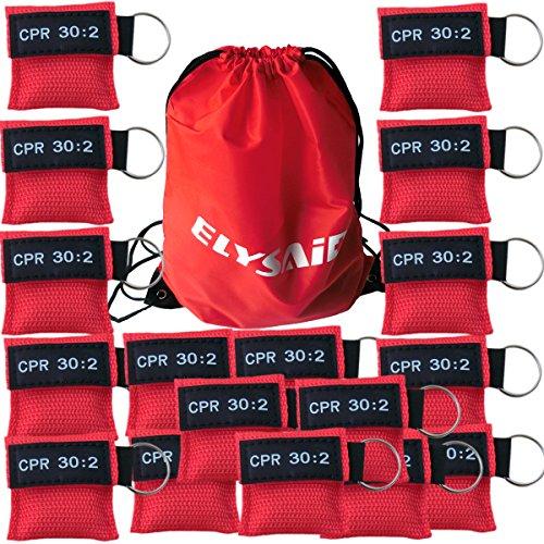 Beatmungsmaske zur Wiederbelebung, mit Schlüsselanhängertasche und Rückschlagventil für HLW, Erste Hilfe, 100 Stück