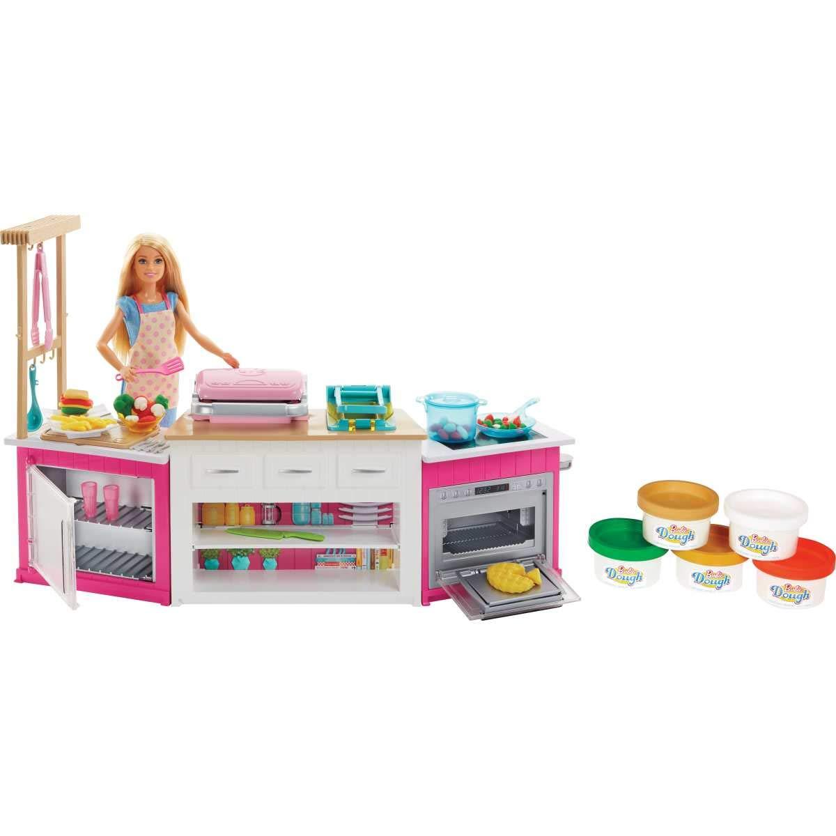 Barbie Quiero Ser Superchef, Cocina con Accesorios y muñeca (Mattel FRH73) + Quiero Ser Pizza Chef, muñeca y Accesorios…