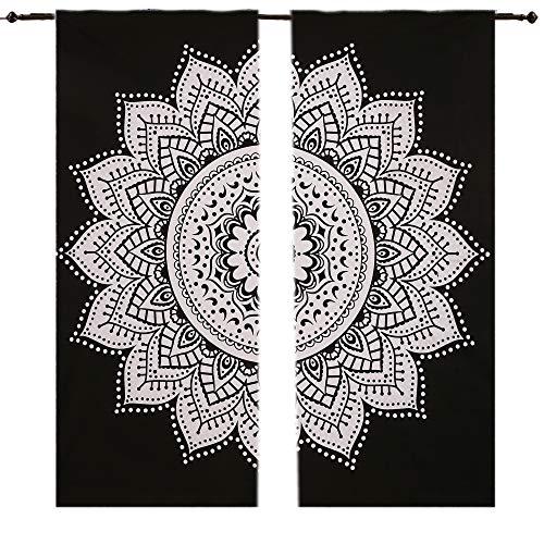 Floral Schwarz & Weiß Mandala Gardinen indischen Tuch Balkon-Set ROOM DECOR Vorhang 2Felder, 208,3x 208,3cm Raumteiler 2PC Panel Set Gardinen Fall Raum Vorhang Balkon-Set Boho,