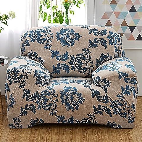 Spandex stretch Housse de canapé, Polyester Imprimé floral Tissu antidérapant élastique Slipcover meubles Protector Canapé Canapé Housse, Polyester, A: 1 Seater (35-55