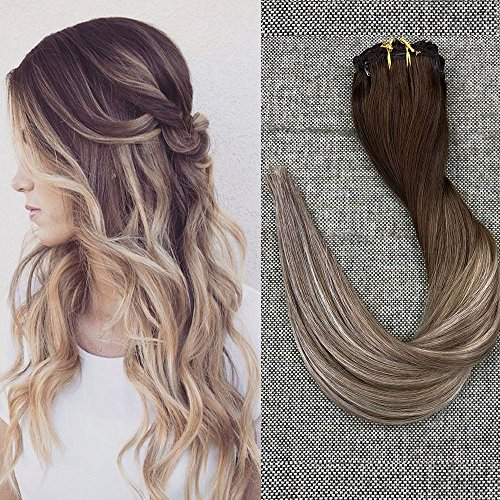 Full Shine 20 Zoll 10Pcs 120g/Set Clip in Extensions Ombre Farbe # 4 Choc Brown Mixed # 8 Kastanie und # 22 Honey Blonde Best Rated Clip in Haarverlängerungen