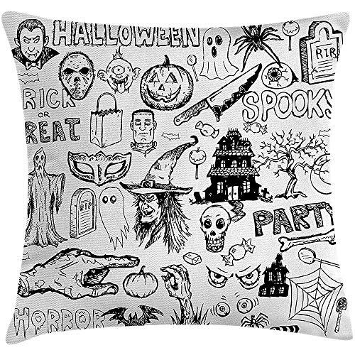 lloween Throw Pillow Kissenbezug, handgezeichnete Halloween Doodle Trick Treat Party abgetrennt Hand Design, dekorative quadratische Akzent Kissenbezug, 18 X 18 Zoll, schwarz weiß ()