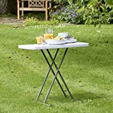 VonHaus 2.5ft (0.77m) Adjustable Height Folding Trestle Table for Picnic/Garden/Beach/Camping/Parties | Max Load 200Kg | Coated Steel + Extra Strength Durable Plastic (Grey)
