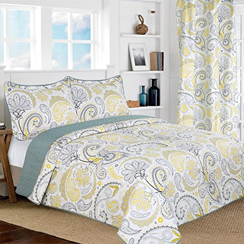 All American Collection New 3gelb/grau paisleyprinted Wende Tagesdecke/Quilt Set, Polyester-Mischgewebe, Yellow,Grey, White, King/ Cal King Size