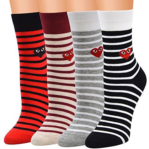 Jaysis Women Cute Horizontal Love Pattern Lady Socks Tube Socks Striped Socks Comfortable, Everyday, Breathable Socks