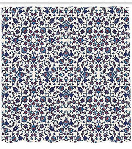 ABAKUHAUS Arabesco Tenda da Doccia, Marocchino Orientale, Stampa Digitale Moderna, 175 x 200 cm, Cream Indigo Vermilion Blue