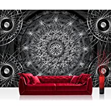 Papel Pintado Fotográfico Premium Plus fotográfico pintado–cuadro de pared–Ornamente–Papel pintado atrapasueños Mandala red perlas líneas Antracita–No. 2947, antracita, Fototapete 368x254cm | PREMIUM Blue Back