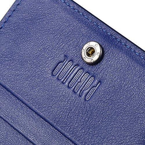 Oneworld Herren Rindleder Kartenetui Universalbörse KreditKartenetui Universalbörse Kreditkartenhüllen Mit 22 Kartenfächer Geldbörse Börse Geldbeutel Geldtasche Portemonnaie 18.5x9.5x1cm(BxHxT) Violet Blau