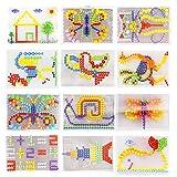 Moonlove 296 pcs Jigsaw Puzzle Mix Colour Mushroom Nails Pegboard Educational Building Blocks Bricks Creative DIY Mosaic Toys Birthday for Kids Age Over 3 Years Old