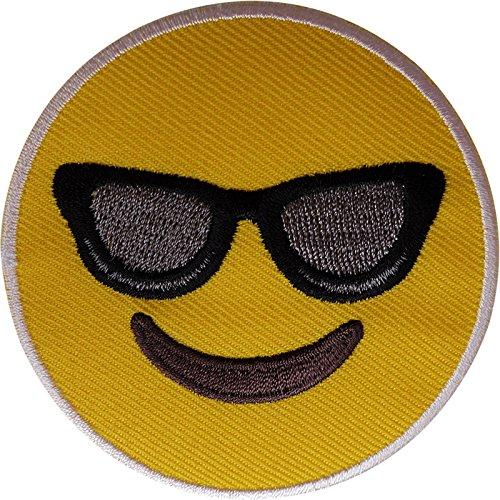 Gelb Smiley, Sonnenbrille Emoji-Patch Eisen nähen auf Smiling gesticktes Badge