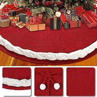 Aitsite Faldas árbol de Navidad, Estera de árbol de Decoración Roja de Navidad de 48 «con 6 Bolas de Nieve Blancas y 3 Lindos Bowknots para Decoraciones Navideñas de Fiestas Navideñas