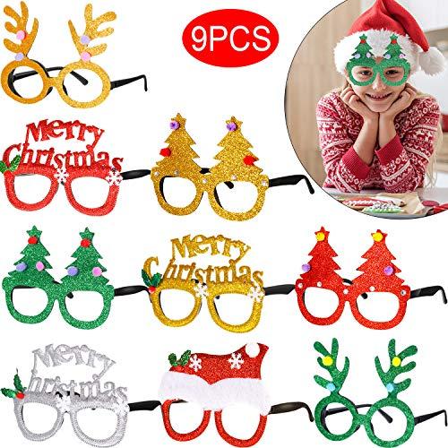 9 Stücke Weihnachten Brillen Funkeln Party Brillen Weihnachten Dekoration Urlaub Kostüm Brillen Party Brillen Rahmen für Jungen Mädchen und Erwachsene Party (Urlaub Kostüm Weihnachten)