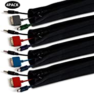 Cable Manager YOMYM Cable Cover Velcro Zipper Buckle Computer Cable Management Storage Set 4 Pieces Black