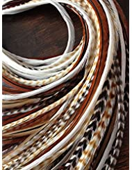 LA BEAUTE POUR TOUS 10 Extensions plumes tons naturels XXL 20-30 cm 100% naturel pour cheveux+ anneaux offerts
