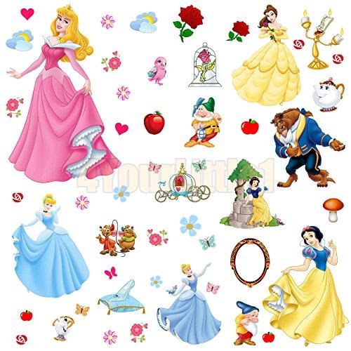 Mädchen Für Wandbilder (Prinzessin Die Schöne und Das Biest Dekor für Mädchen, kunstvoller Wandbild WandAufkleber, Wandtattoo, Wandsticker, Wandbild als selbstklebende Wanddekoration)