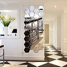 12 Stück Spiegelfliesen Selbstklebend, VIGORFUN Hexagon Spiegel Wandspiegel  Zum Wanddekoration