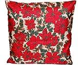 pflegeleichte Kissenhülle 40x40 cm WEIHNACHTEN Adventsstern rot beige grün Polyester Weihnachtskissen (Kissenbezug 40x40 cm)