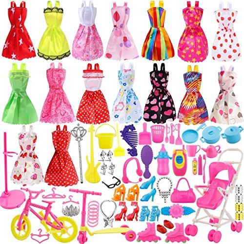 116 Pezzi Accessori per Bambole Barbie, Accessori per Bambole, 16 Pezzi Gonne Estive Abiti + 98 Pezzi Accessori Barbie + 2 Pezzi Adesivo (multicolore)
