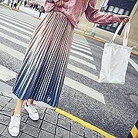 HYW Falda Plisada de Terciopelo de Primavera Brillante Falda de Metal de Seda Era Plisada Delgada,Gris Azulado,Metro