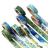 Washi Tape Set Masker Tape Art Crafty Ölgemälde Van Gogh Rollen Dekorieren DIY Papier Klebeband 15mm x 7mm