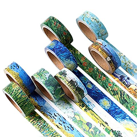 Washi Tape Set Masking Tape Art Crafty Oil Painting Van Gogh Rolls Decorate DIY Adhesive Paper Tape