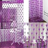 #6: Pindia Beautiful Heart String Thread Mordern 2 Piece Polyester Window Door Home Decor Curtain - 6ft, Mauve Purple
