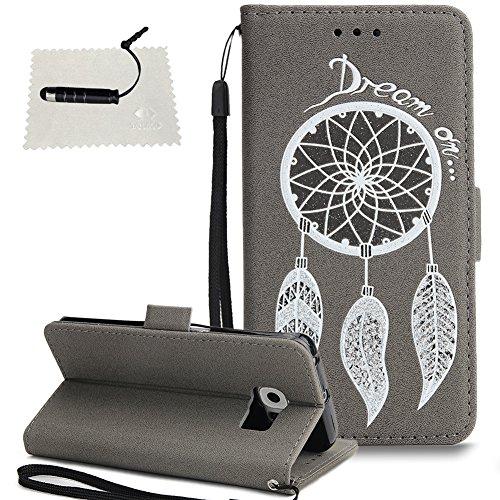 Samsung Galaxy S6 Edge Leder Wallet Hülle Windspiel Leder TOCASO Handyhülle für Samsung Galaxy S6 Edge Schutzhülle Wallet Case Flip Cover BriefTasche hülle Holster - - Windspiel Grau
