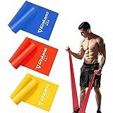 Haquno elastico fitness (3 pezzi)1.5M /1.8M /2M,con 3 livelli di resistenza, è ideale per yoga, pilates, allenamento di forza