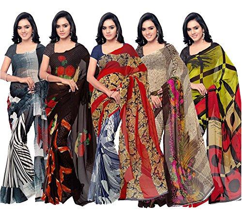Khatu Shyam Women's Synthetic Saree With Blouse Piece (Pr Print Combo 5_Multicoloured)
