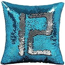 Funda de cojín con lentejuelas, diseño de sirena, funda mágica de almohada que cambia