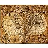 Kicode TOPmountain Estilo Vintage Mapa Retro de navegación Lona de Tela Póster Pintura al óleo Decoración