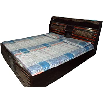 Generic Double Bed Chatai Design Wooden Back Box Brown King Size