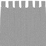 Sugarapple Dekoschal, Gardine, Vorhang (über 35 Farben wählbar) mit Schlaufen aus Baumwolle für Kinderzimmer und Babyzimmer. 2 Schals, Breite 143 cm, Länge 230 cm, grau Sterne weiß