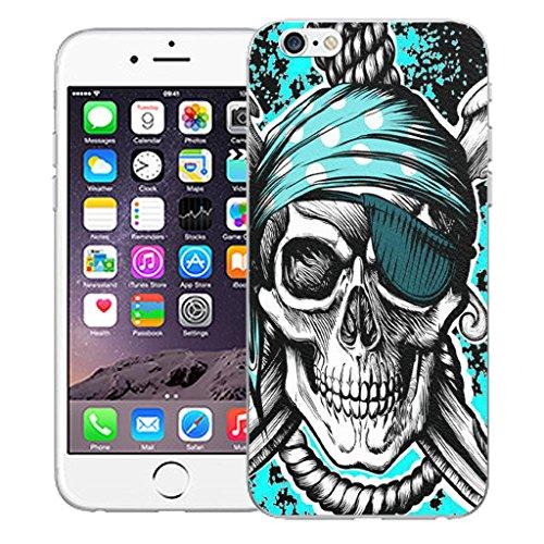 "Mobile Case Mate iPhone 6 4.7"" inch clip on Dur Coque couverture case cover Pare-chocs - blue flower vine Motif avec Stylet blue hanging skull"