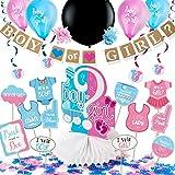 ARTIT Gender Reveal Party Decorazione Forniture Baby Shower Gravidanza Annuncio kit Ragazzo o Ragazza Favori Rosa Blu e Nero Coriandoli Palloncino Appeso Turbinii Tovaglia Foto Puntelli