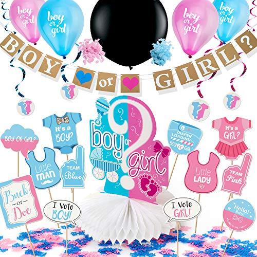 ARTIT Gender Reveal Party Dekoration Babyparty Geschlecht Offenbaren Baby Deko Mädchen Girl oder Junge Boy Banner Luftballons Schwarzer Ballon Rosa Blaue Konfetti Spiralen Tischdecke Foto Requisiten