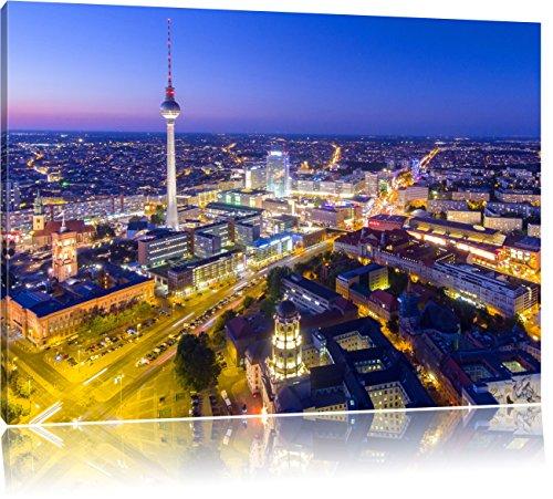 Berlin City Panorama, Format: 120x80 auf Leinwand, XXL riesige Bilder fertig gerahmt mit Keilrahmen, Kunstdruck auf Wandbild mit Rahmen, günstiger als Gemälde oder Ölbild, kein Poster oder Plakat
