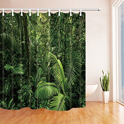 Forest Decor Vorhänge Dusche von gohebe Morning Forest Farn in tropischen Pflanze Bad Vorhänge 180,3x 180,3cm grün -