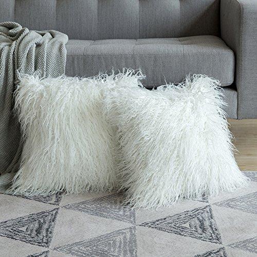 MIULEE 2er Set Soft Solid Dekorative Quadrat Pelz Throw Kissenbezüge Set Kissen Fall für Sofa Schlafzimmer Auto 20x20 Inch 50x50 cm Weiß