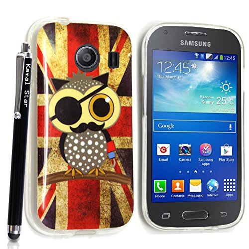 GSD STYLE YOUR MOBILE {TM} SAMSUNG GALAXY ACE STYLE SM-G310 GEL SILICONE SILIKON CASE SKIN GEL TPU Hülle COVER + STYLS (Vintage Flag Pirate owl)