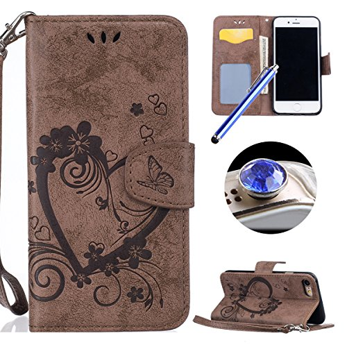 iPhone 7 Cover Pelle,iPhone 7 Custodia Portafoglio,Etsue Moda Retro Style Love Heart Modello Leather PU Wallet/Libro/Flip Protettiva Case Cover Con Magnetica Chiusura/Supporto di Stand/Carte Slot+Blu Stylus Pen e scintillio di Bling Diamond Dust Plug colora casuale-Marrone - Chiusura Plug