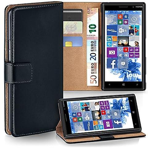 Nokia Lumia 830 Hülle Schwarz mit Karten-Fach [OneFlow 360° Book Klapp-Hülle] Handytasche Kunst-Leder Handyhülle für Nokia Lumia 830 Case Flip Cover Schutzhülle