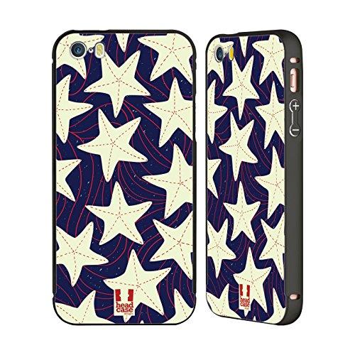 Head Case Designs Anker Und Chevron Marine Muster Schwarz Rahmen Hülle mit Bumper aus Aluminium für Apple iPhone 5 / 5s / SE Weisser Seestern
