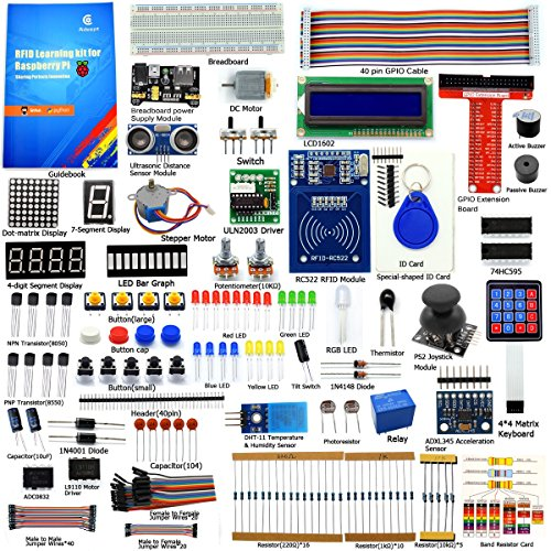 Adeept RFID Starter Kit for Raspberry Pi 3, 2 Model B/B+, Stepper Motor, ADXL345, 40-pin GPIO Extension Board, with C and Python Code, Beginner/Learning Kit with 140 Pages Printed Guidebook (Python-starter-kit)