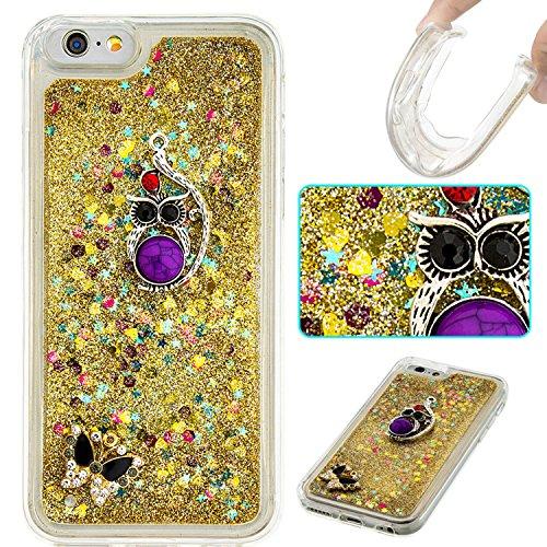 MOONCASE iPhone 6S Hülle, Bling Glitzer [Lips] Muster Strass Flüssiger Schutzhülle für iPhone 6 / 6S (4.7 inch) Weiche Silikon Soft Gel TPU Case Back Cover Silber 02 Gold 04