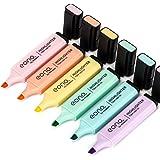 Marque Amazon - Surligneurs Eono, couleurs pastel à pointe biseautée, couleurs assorties, à base d'eau, séchage rapide (6 cou