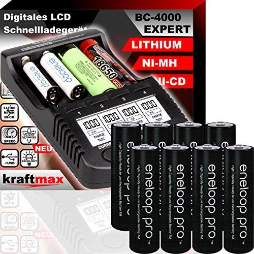 Original BC-4000 EXPERT Ladegerät + 8 Panasonic Eneloop Pro Mignon AA Akkus - SET mit Ladestation und Akku Batterien in kraftmax Premium Akkubox
