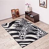 Alfombra De Salón Moderna – Color Negro Gris De Diseño Piel De Animales – Suave – Fácil De Limpiar – Top Precio – Diferentes Dimensiones S-XXXL 80 x 150 cm