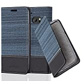Cadorabo Hülle für HTC 10 - Hülle in DUNKEL BLAU SCHWARZ – Handyhülle mit Standfunktion und Kartenfach im Stoff Design - Case Cover Schutzhülle Etui Tasche Book