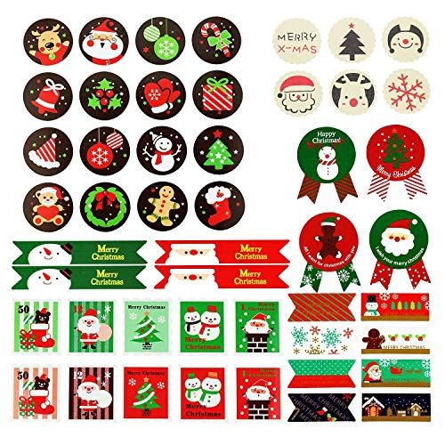 36PCS Hojas Etiqueta papel etiqueta Navidad nuevo